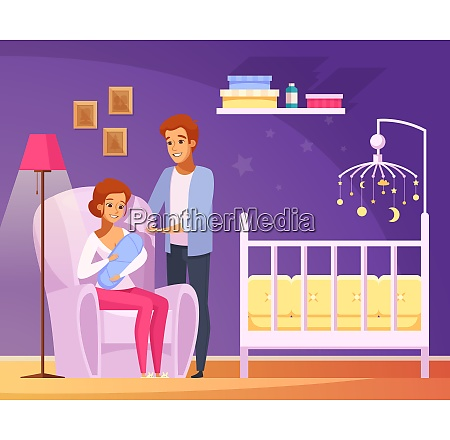 breastfeeding cartoon composition with woman sitting