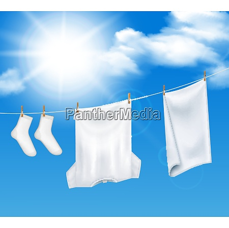 washed laundry sky background realistic composition