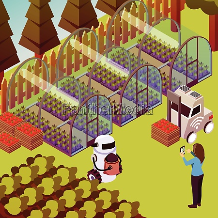 agricultural robots isometric composition with outdoor