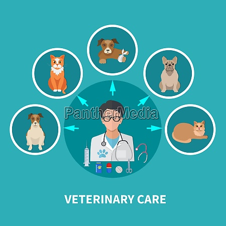 veterinary care flat round icons composition