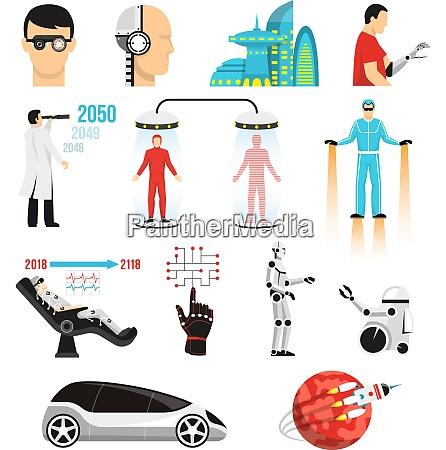 futurology icons set with bionic medicine