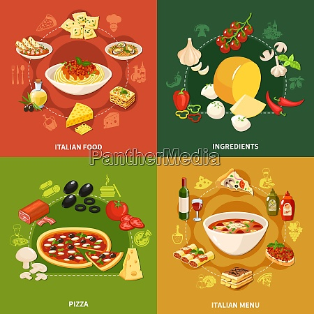 italian food 2x2 design concept set