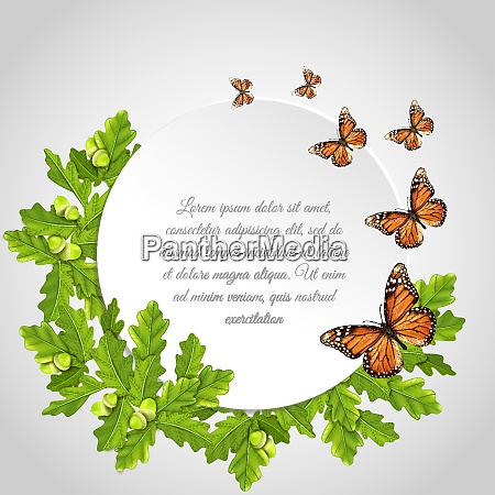 butterflies realistic round frame card composition