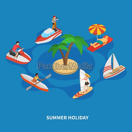 water activities during summer holiday including
