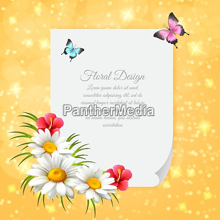 colored daisy realistic letter with gentle