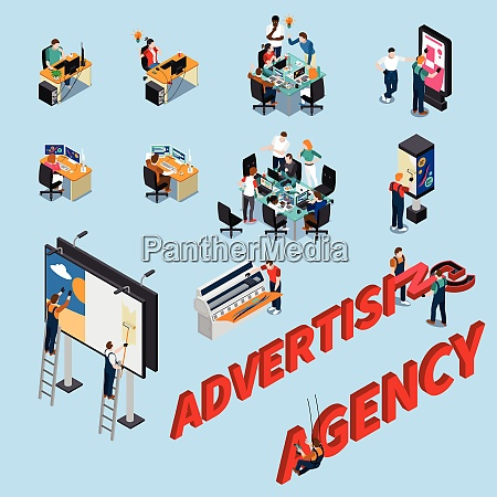advertising agency isometric people at workplaces