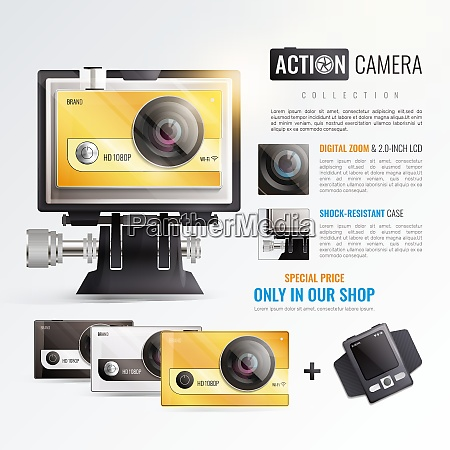 action camera poster with digital zoom