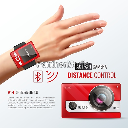 action camera poster with distance control