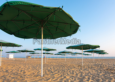 opened sunshades of a deserted sandy