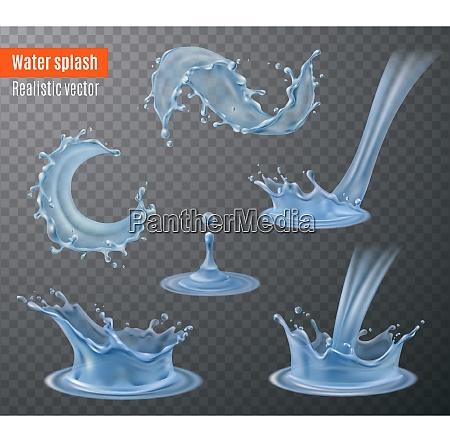 water splash beautiful realistic images set