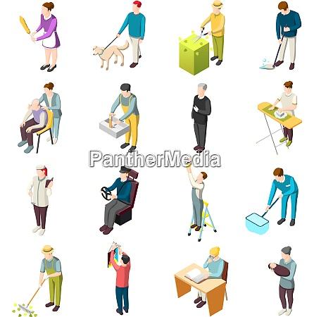 domestic servant set of isometric icons