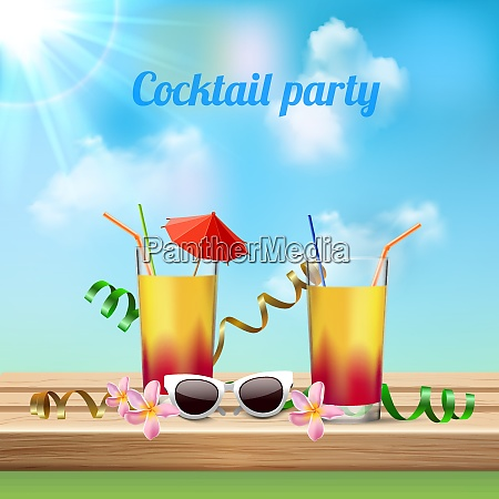 summer vacation cocktail party celebration realistic