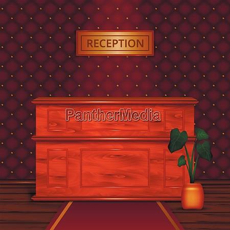 luxury hotel reception wooden front desk
