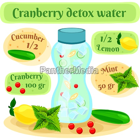 cranberry detox water recipe flat composition