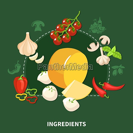italian food green background with organic
