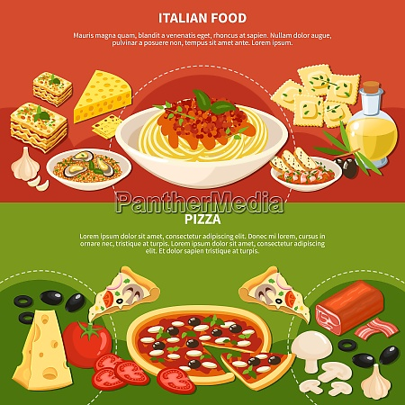 italian dishes horizontal banners with icons