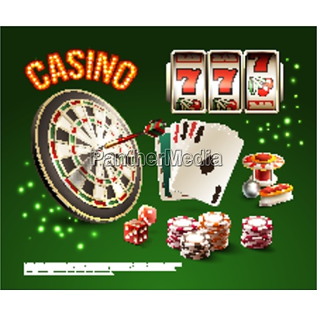 games realistic stylish composition with casino
