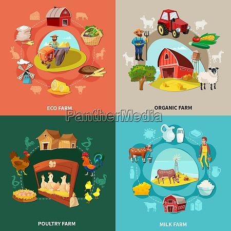 four squares farm cartoon concept set