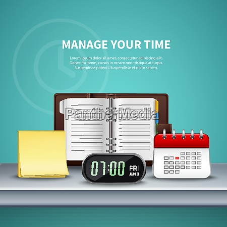 time management realistic colored composition with