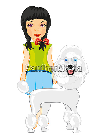 girl teenager with dog of the