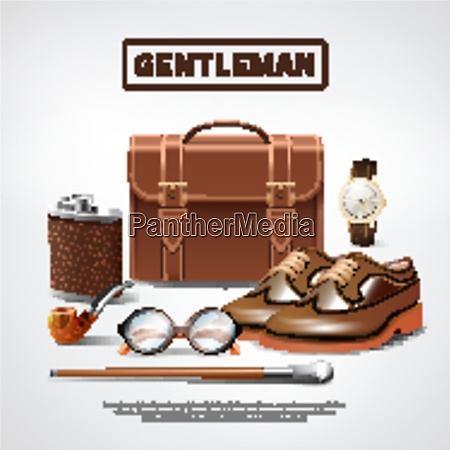 classic, retro, gentleman, accessories, realistic, composition - 27201504