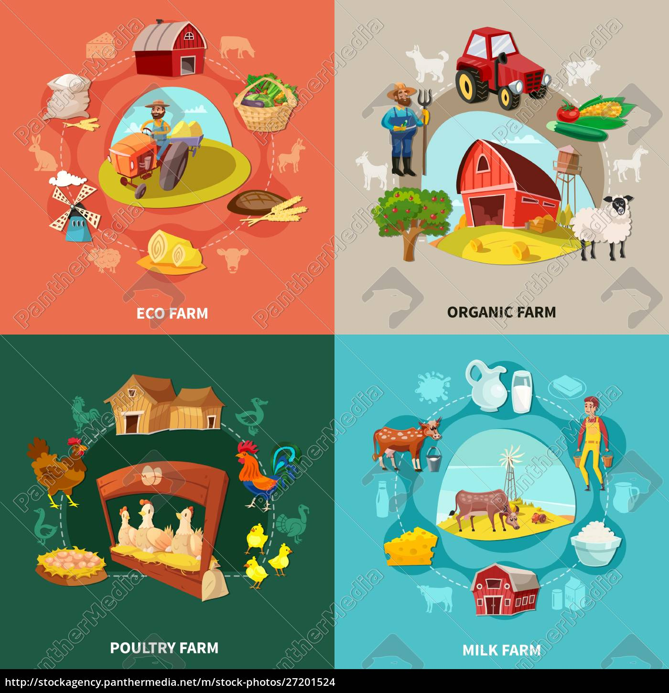 four, squares, farm, cartoon, concept, set - 27201524