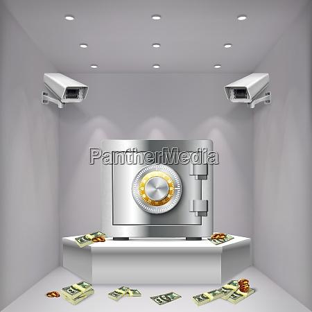 room, with, metal, bank, vault, surveillance - 27201532