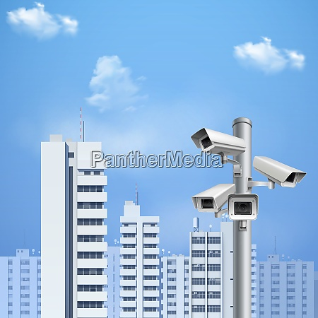 security, system, surveillance, cameras, on, background - 27201543