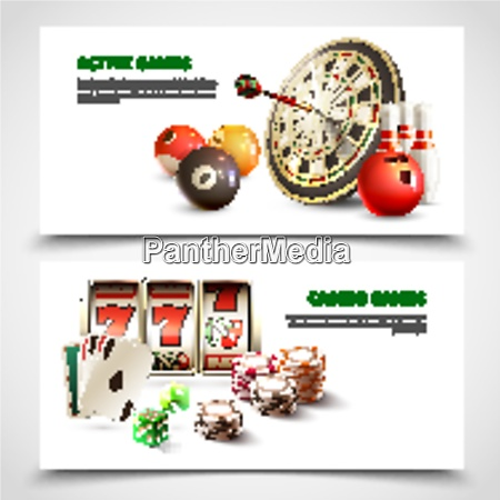 two, horizontal, games, realistic, banner, set - 27201507