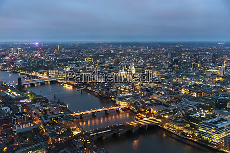 aerial view of river thames in