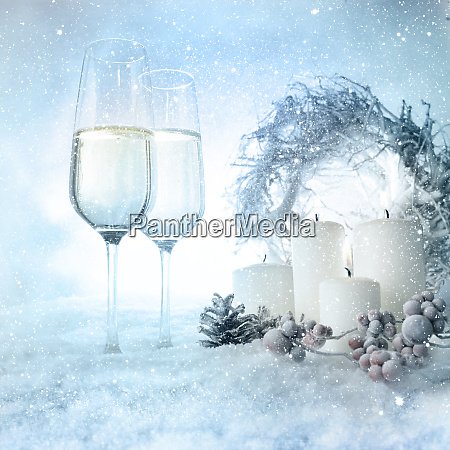 christmas decoration in snow with champage