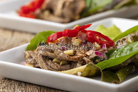meat salad with chili from thailand