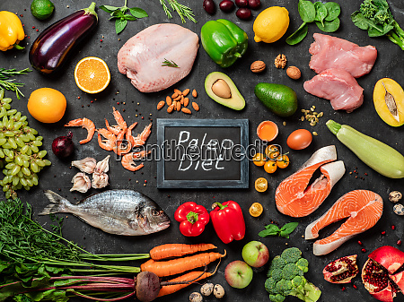 paleo diet concept top view or