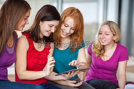 female college students working on their