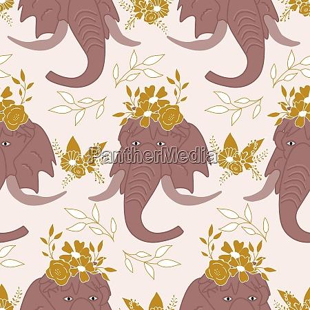 elegant flowers leaves and mammoths in