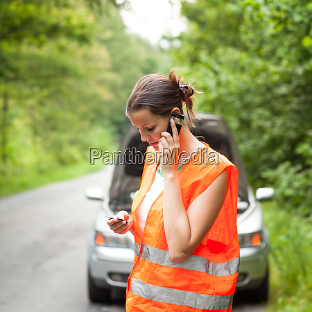 young female driver wearing a high