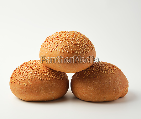 stack of baked whole round bun