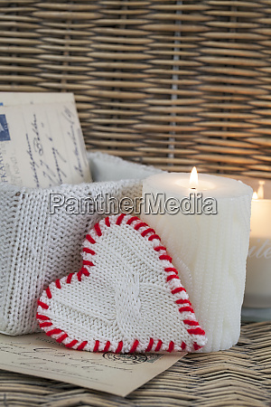 rustic christmas decoration with candle and