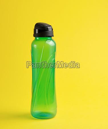 closed plastic green transparent sports bottle