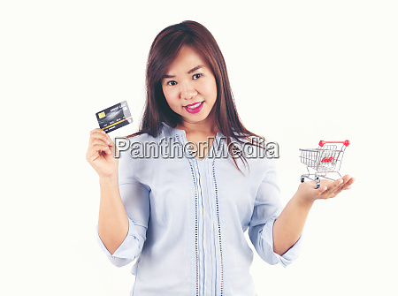 women holding credit cards and shopping