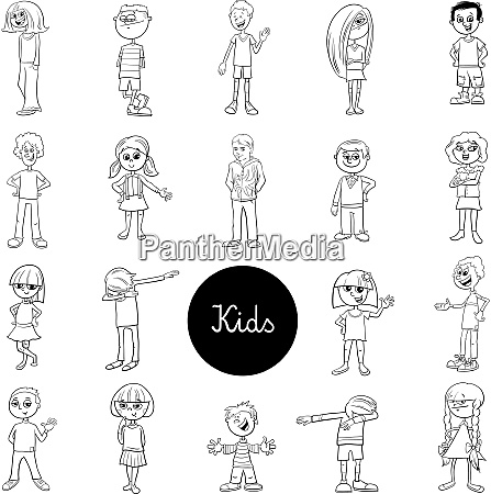 comic children characters black and white