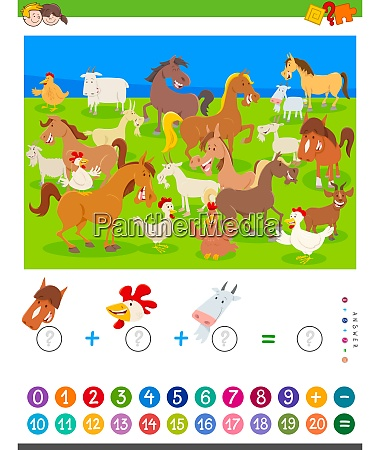 counting and adding game with cartoon