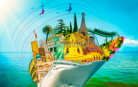 tourist collage travel attractions of the