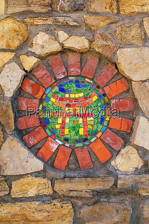 mosaic symbol of shinto on wall