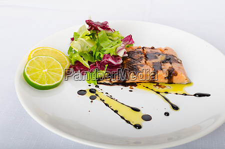 salmon with a reduction of balsamic