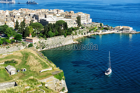 landscape of corfu island with the