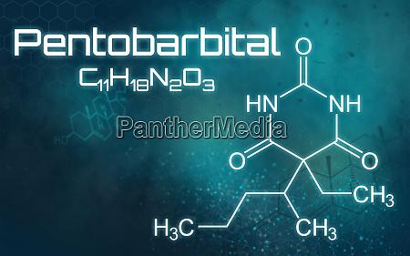 chemical formula of pentobarbital on a