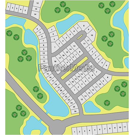 fictitious cadastral plan with roads and