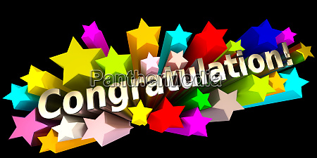 congratulation with colorful stars