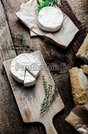 camembert soft cheese with homemade pastries